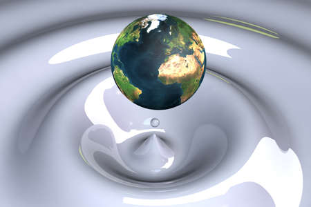 the world as a drop on liquid white wavy 3d illustration illustration