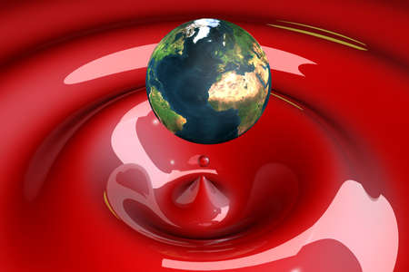 the world as a drop on liquid red wavy 3d illustration illustration