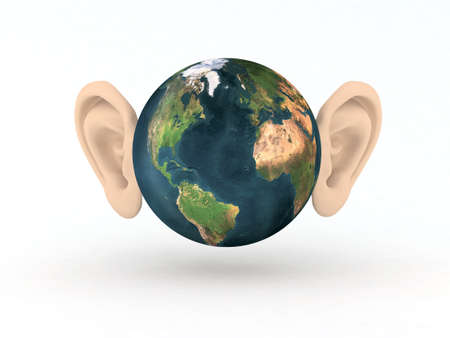 the world with two large ears 3d illustration illustration