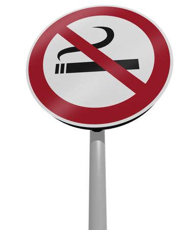 prohibido fumar: tráfico no firmar ninguna ilustración 3d de fumar Foto de archivo