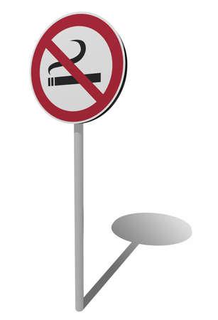 cigar smoking woman: traffic sign no smoking 3d illustration