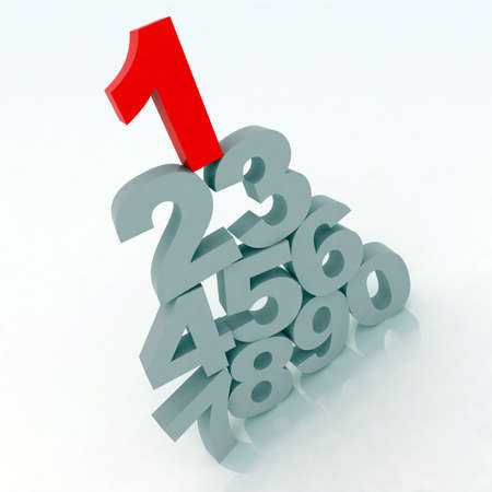 3d gray numbers with one red Stock Photo - 9460177