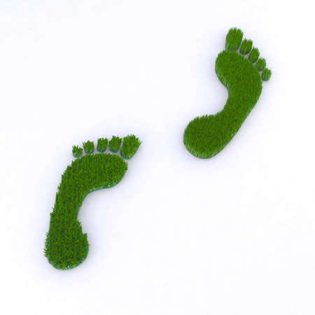 step up: footsteps walking on grass 3d illustration