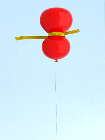 losing weight: red balloon with meters that measure, 3d illustration Stock Photo