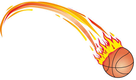 basket ball on fire 3d illustration 스톡 콘텐츠