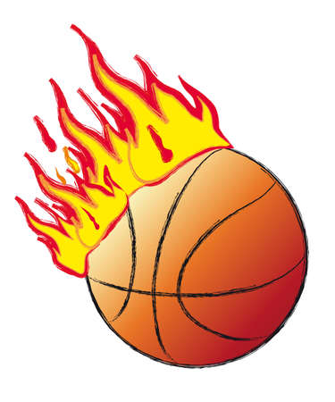 blazing: basket ball on fire 3d illustration Stock Photo