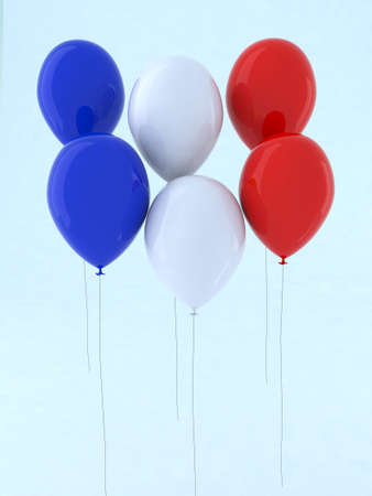 blue white and red balloon 3d illustration illustration