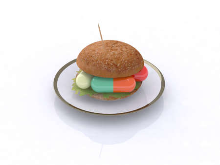 colored pills in the sandwich, food chemist concept, 3d illustration Stock Illustration - 9460140