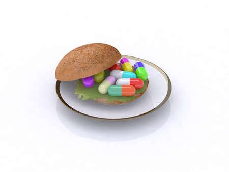 chemist: colored pills in the sandwich, food chemist concept, 3d illustration