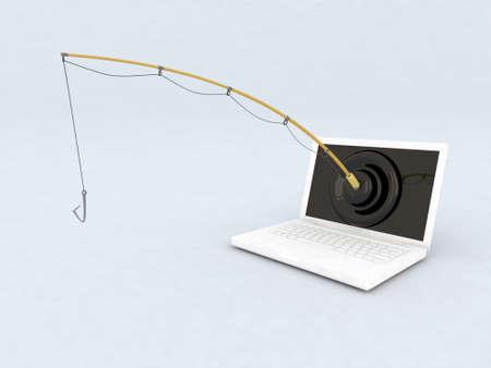 概念のフィッシング詐欺の 3 d イラストレーション