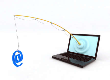 web scam: concept phishing 3d illustration