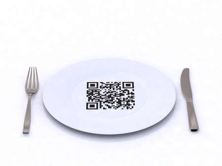 plate with fork, knife and QR code, 3d illustration
