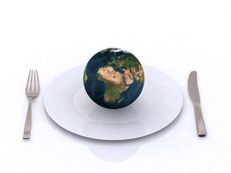 the world on a plate 3d illustration Stock Illustration - 9460221