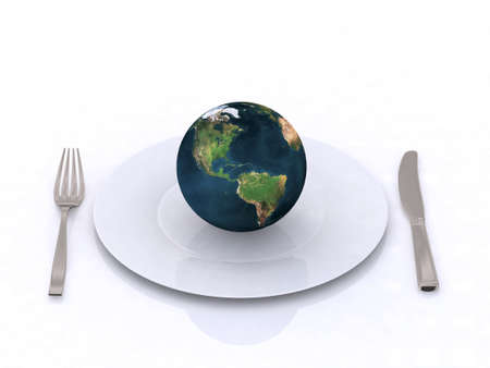 the world on a plate 3d illustration illustration