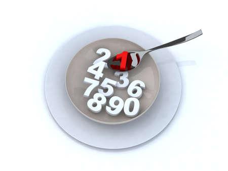 sumas: n�meros en la ilustraci�n 3d de placa Foto de archivo