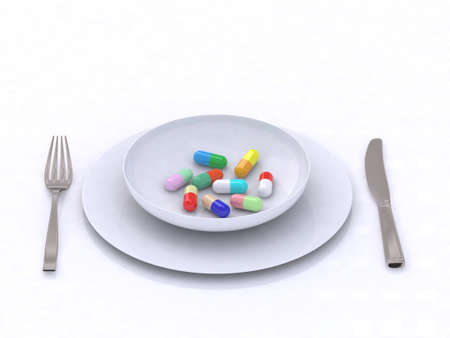 plate with pills 3d illustration Stock Illustration - 9460199