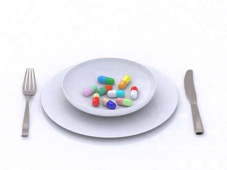 plate with pills 3d illustration Stock Illustration - 9460199