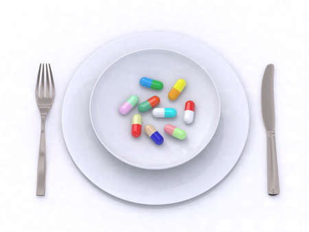 plate with pills 3d illustration Stock Illustration - 9460203