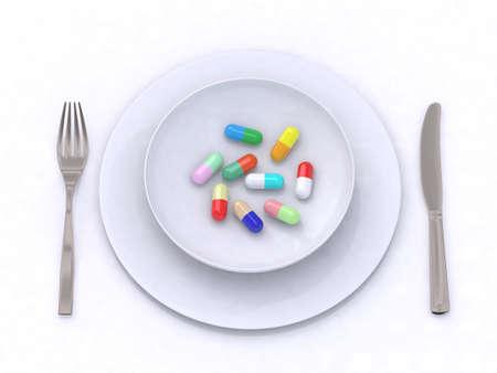 plate with pills 3d illustration Stock Illustration - 9460203