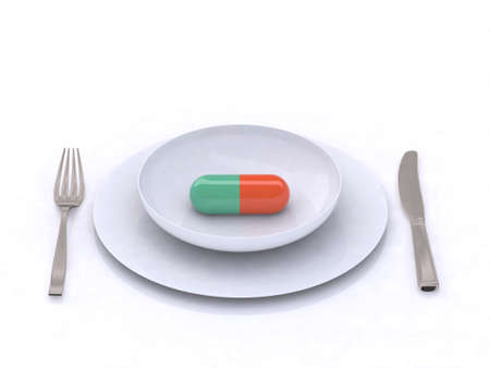 plate with pill 3d illustration Stock Illustration - 9460184