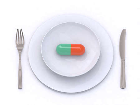 plate with pill 3d illustration Stock Illustration - 9460187