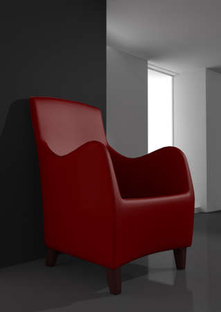 red chair in modern room 3d rendering photo