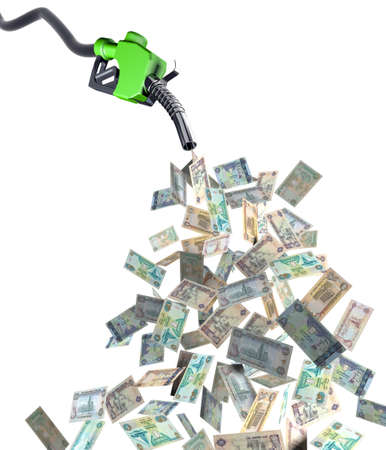 fuel nozzle with dirham banknotes 3d illustration