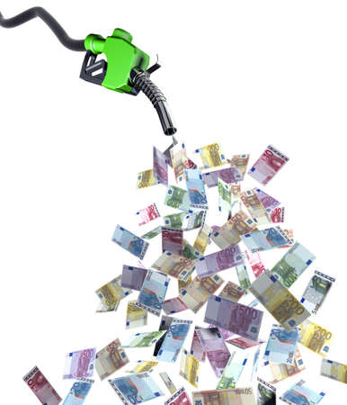 fuel nozzle with euro banknotes 3d illustration illustration