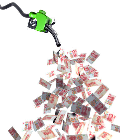 petrol station: fuel nozzle with yuan banknotes 3d illustration