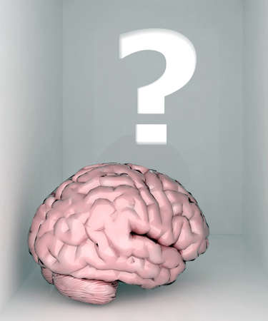 red point: brain room and question mark 3d illustration