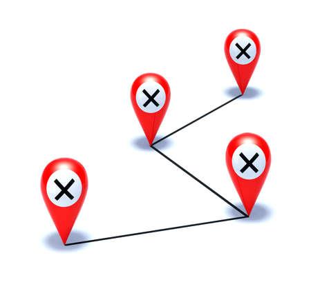 Cruz en ilustración 3d puntero rojo