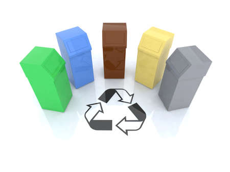 recycling bins with recycling mark 3d illustration illustration
