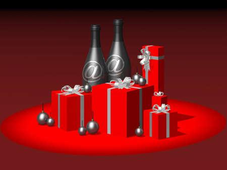Christmas gifts: bottles, gift packs, balls photo