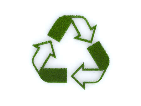 recycle sign with grass 3d illustration Stock Illustration - 9516933