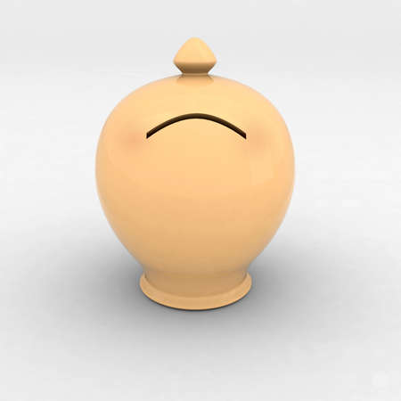 money box: sad money box 3d illustration Stock Photo