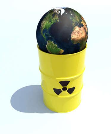 radioactive warning symbol: the nuclear world inside the bin 3d illustration