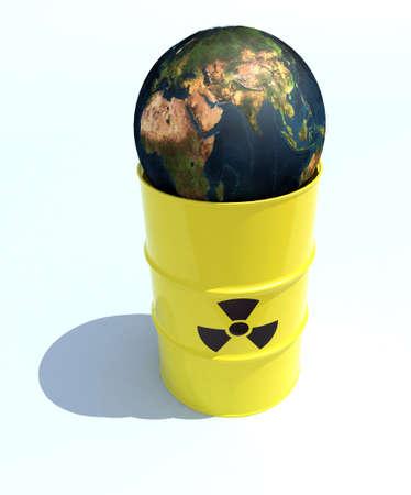the nuclear world inside the bin 3d illustration illustration