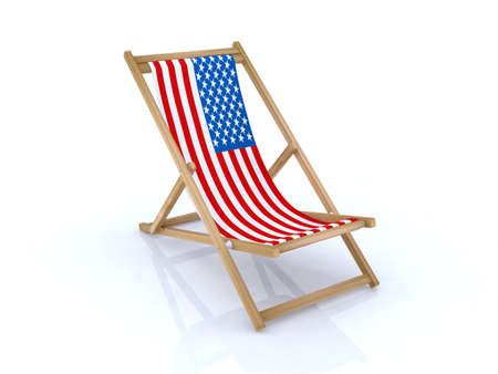 Gentil Illustration   Wood Desk Chair With American Flag 3d Illustration