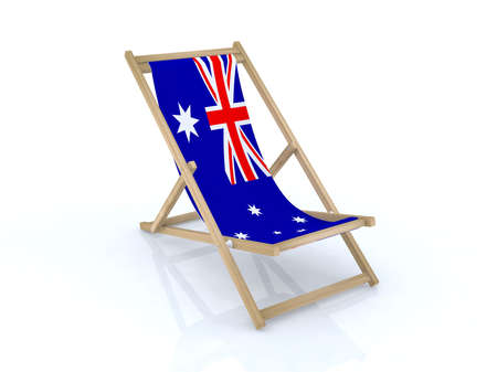 wood desk chair with australian flag 3d illustration Stock Illustration - 9516945
