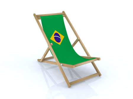 wood desk chair with brasilian flag 3d illustration Stock Illustration - 9516944