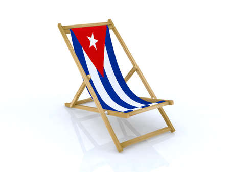 cuba flag: wood desk chair with cuban flag 3d illustration
