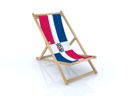 wood desk chair with dominican flag 3d illustration illustration