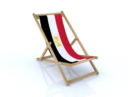 naama bay: wood desk chair with Arab Republic of Egypt flag 3d illustration