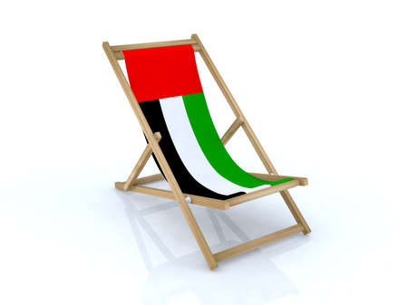 wood desk chair with united arab emirates flag 3d illustration illustration