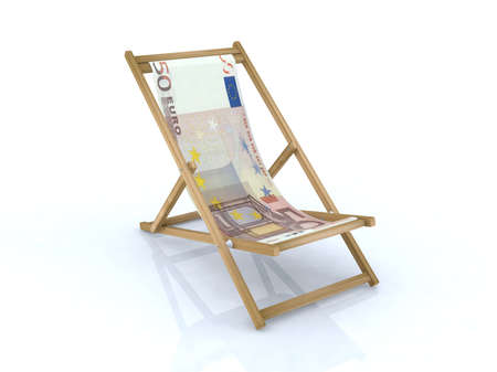 raise the white flag: wood desk chair with 50 euro banknote 3d illustration Stock Photo