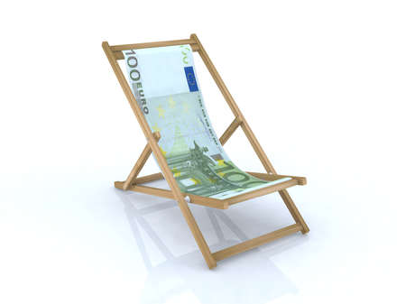 raise the white flag: wood desk chair with 100 euro banknote 3d illustration