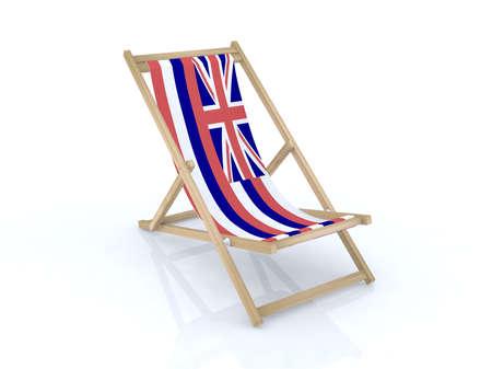 wood desk chair with hawaiian flag 3d illustration illustration
