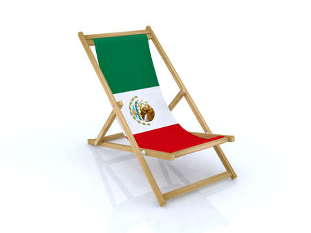 wood desk chair with mexico flag 3d illustration Stock Illustration - 9516957