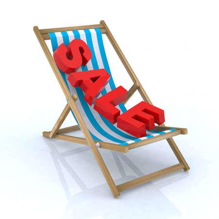 beach chair with sale written 3d illustration Stock Illustration - 9517043