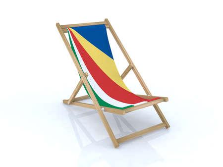 wood desk chair with seychelles flag 3d illustration Stock Illustration - 9516948
